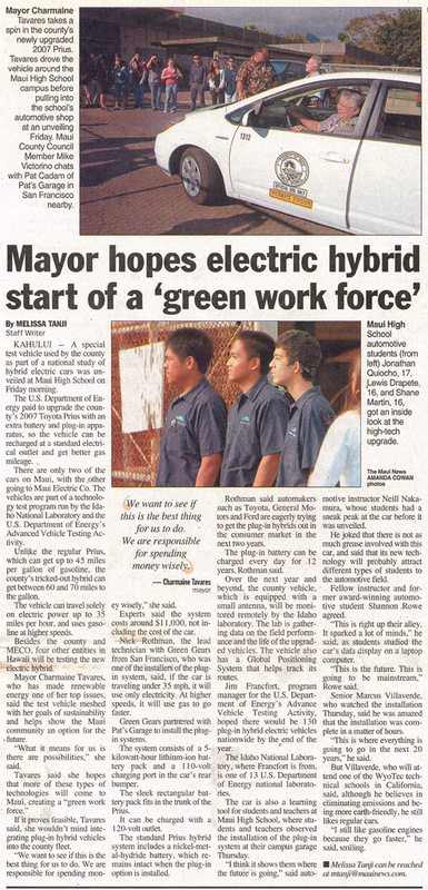 Green Gears trains highschool students in Maui and installs 6 PHEV systems – featured in Hawaii Newspapers
